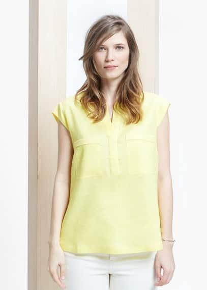 Pocket linen-blend blouse | MANGO