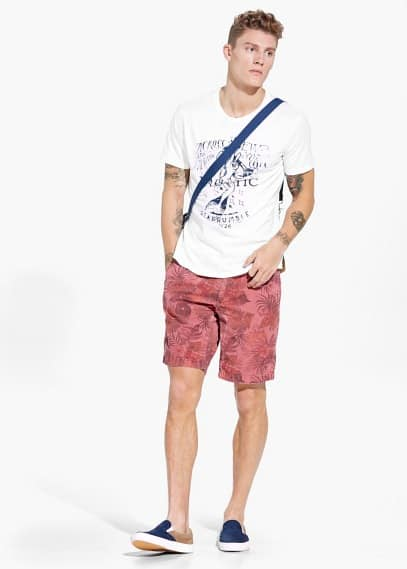 Tropical-print bermuda shorts | MANGO MAN