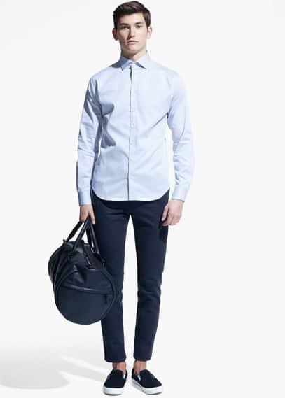 Modern slim-fit overhemd met textuur