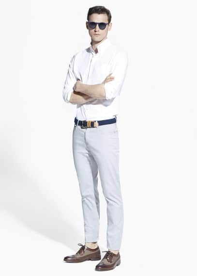 Slim-fit 5 pocket garment-dyed trousers | MANGO MAN