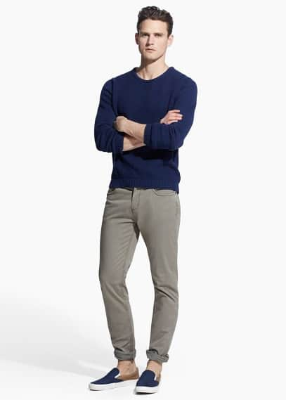 Slim-fit 5 pocket garment-dyed trousers
