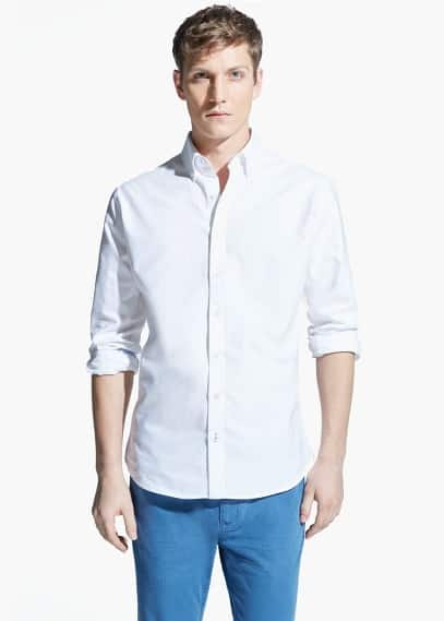 Slim-fit cotton oxford shirt | MANGO MAN