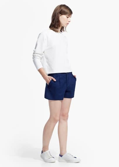Cotton linen-blend shorts | MANGO