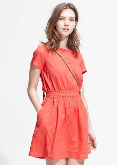 Stripe-textured dress | MANGO