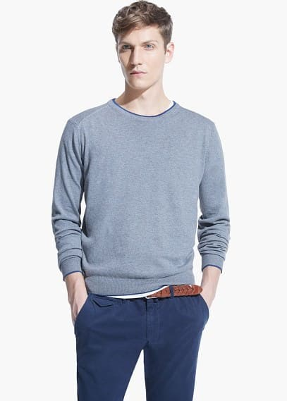 Elbow-patch cotton wool-blend sweater | MANGO MAN
