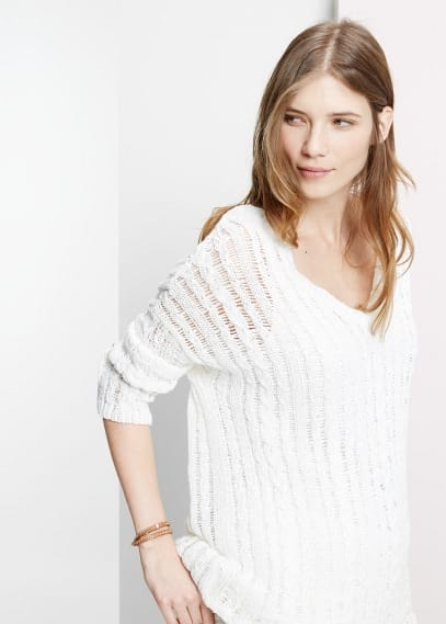 Openwork cable-knit sweater | VIOLETA BY MANGO