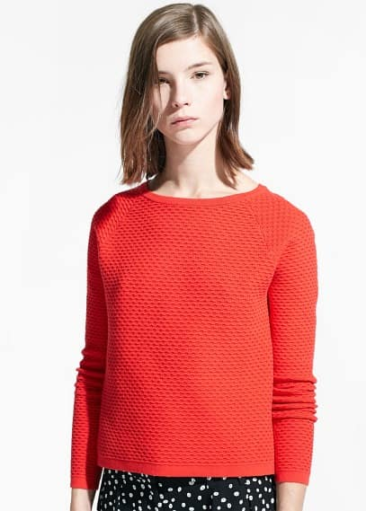 Textured cotton-blend sweater | MANGO