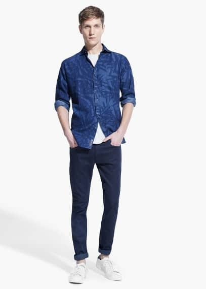 Chambray slim-fit overhemd met print | MANGO MAN