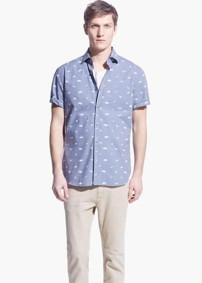 Slim-fit short-sleeve dinosaur-print shirt | MANGO MAN