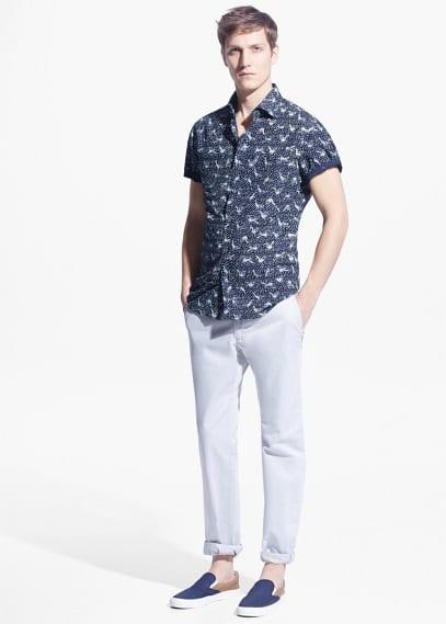Slim-fit short-sleeve printed shirt | MANGO MAN