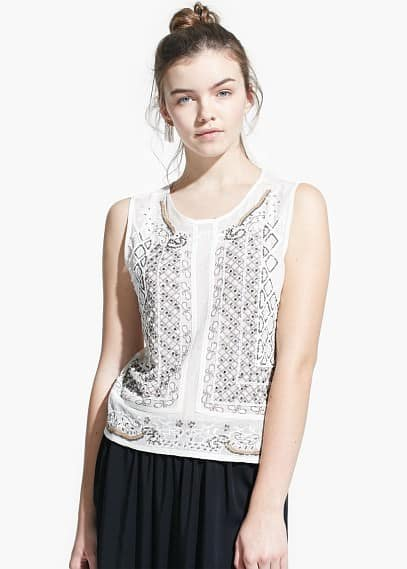 Beaded open-work top