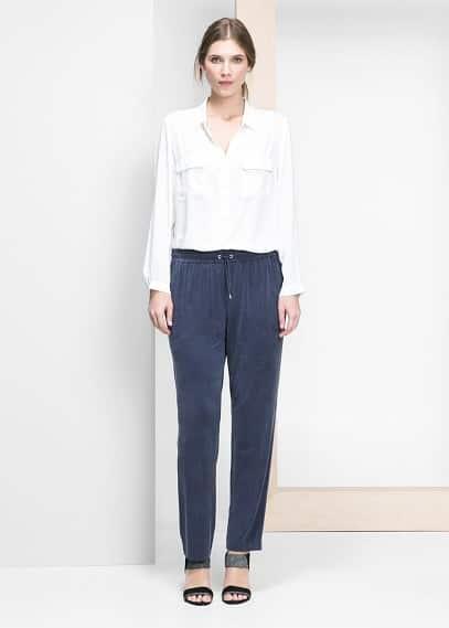 Volné kalhoty baggy z jemné tkaniny | VIOLETA BY MANGO