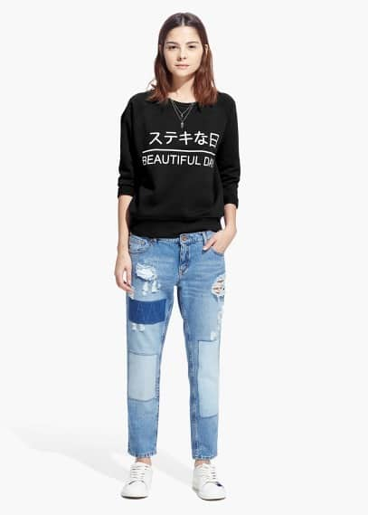 Cotton message sweatshirt | MANGO