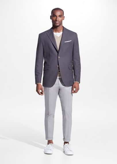 Classic-fit textured cotton blazer | MANGO MAN