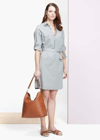 Φόρεμα πουκαμίσα ζώνη | VIOLETA BY MANGO