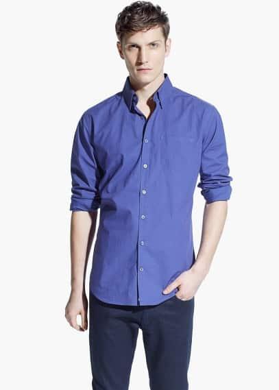 Camisa slim-fit lunares bolsillo | MANGO MAN