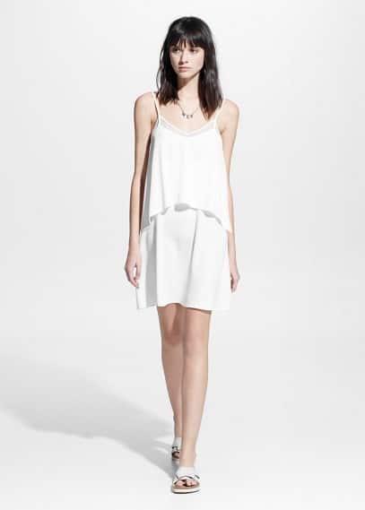 Kleid mit tüllapplikation | MANGO