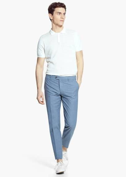 Calças fato popeline algodão | MANGO MAN