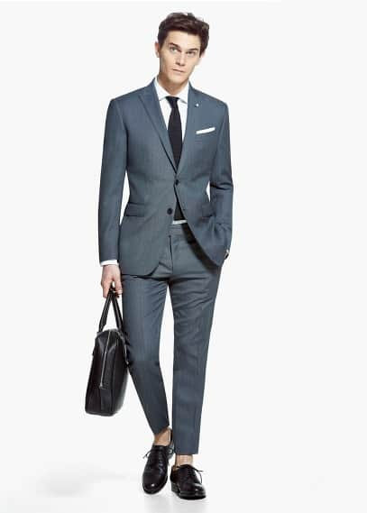 Bird's eye wool-blend sevilla suit | MANGO MAN