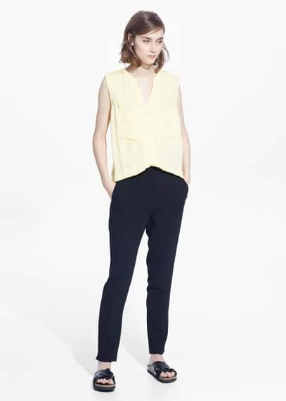 Chest-pocket chiffon blouse | MANGO