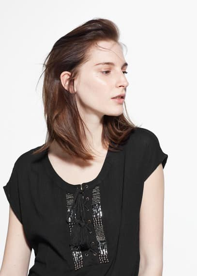 Top perline metallo | MANGO
