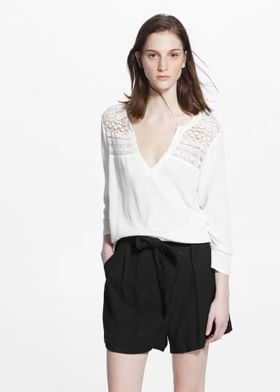 Crochet panel blouse | MANGO
