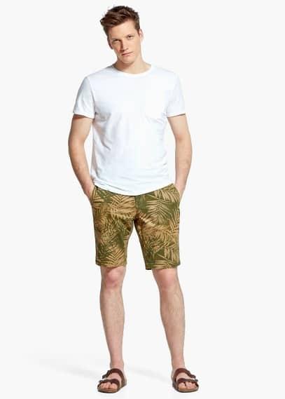 Leaf-print garment-dyed bermuda shorts | MANGO MAN