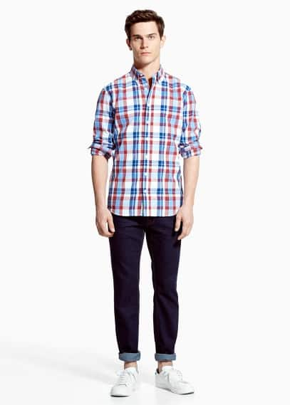 Slim-fit check madras shirt | MANGO MAN