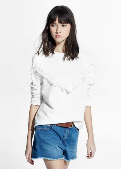Fringed cotton-blend sweatshirt | MANGO