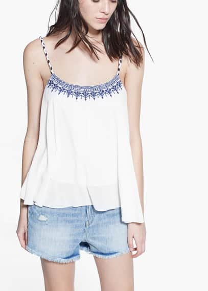Embroidered strap top | MANGO