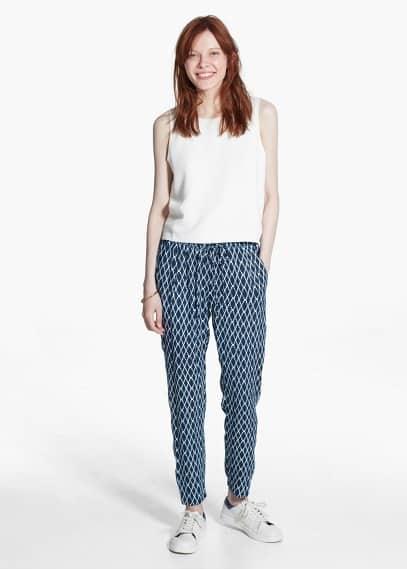 Baggy mosaic trousers | MANGO