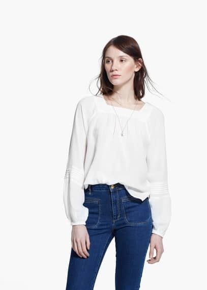Cotton-blend textured blouse | MANGO