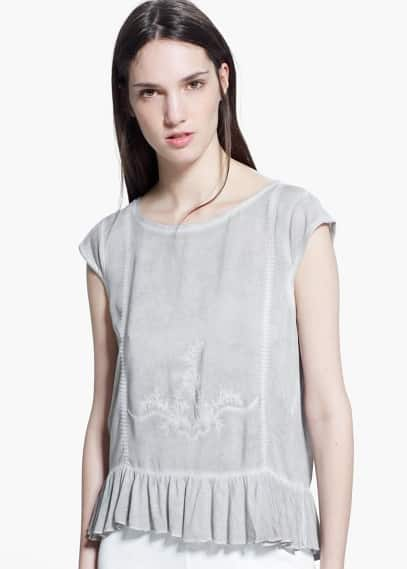 Embroidered ruffle top | MANGO