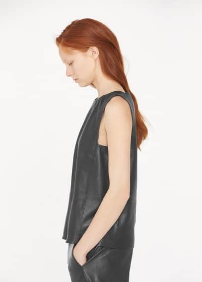 Premium - leather top | MANGO