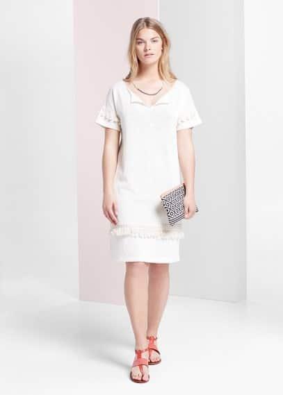 Φόρεμα ίσια γραμμή φούντες | VIOLETA BY MANGO