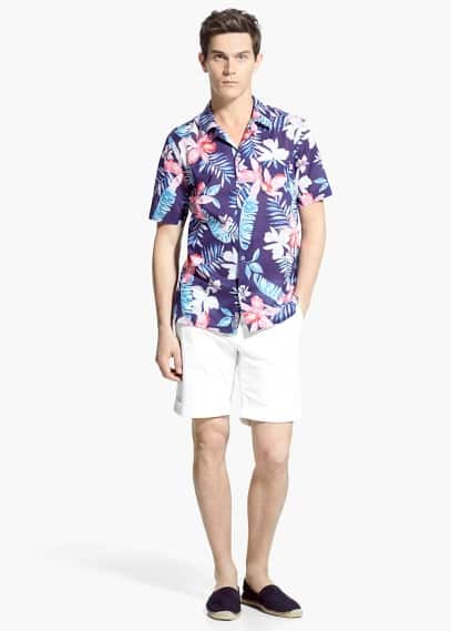 Classic-fit short-sleeve tropical-print shirt | MANGO MAN