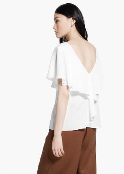 Soepelvallende blouse met wijde mouwen | MANGO
