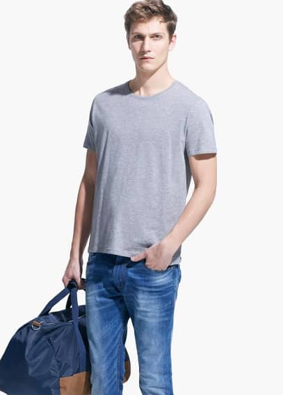 Cotton essential t-shirt | MANGO MAN
