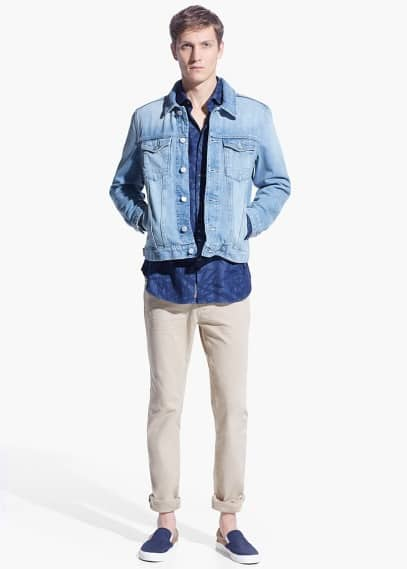 Light wash denim jacket | MANGO MAN
