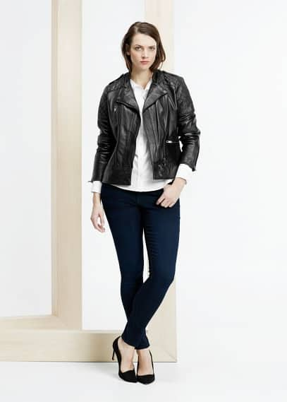 Leather biker jacket | VIOLETA BY MANGO