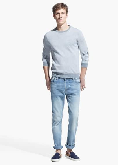 Straight-fit light wash bob jeans | MANGO MAN