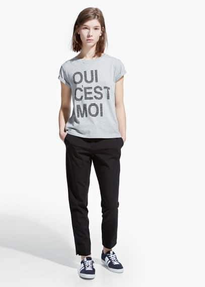 Cotton message t-shirt | MANGO