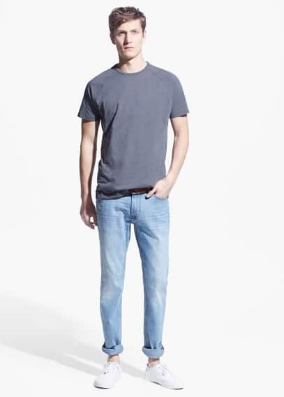 Slim-fit light wash jan jeans | MANGO MAN