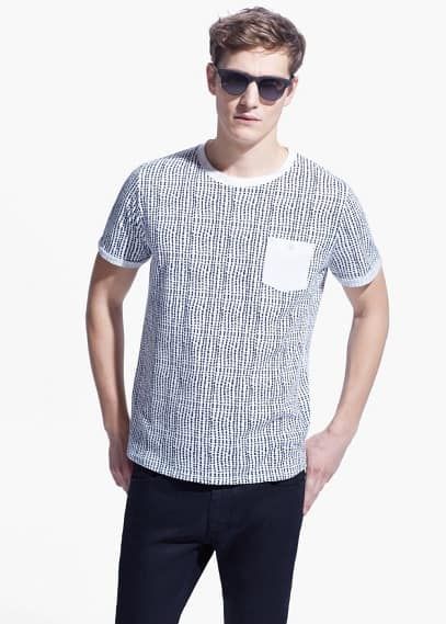 T-shirt met print en borstzak