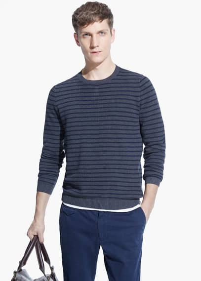 Textured linen-blend sweater | MANGO MAN
