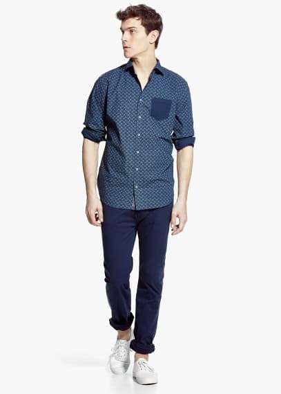 Slim-fit chest-pocket printed shirt | MANGO MAN