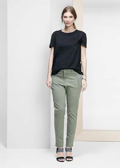 Kalhoty slim se zipy | VIOLETA BY MANGO