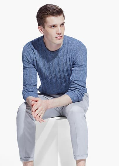 Cable-knit cotton sweater | MANGO MAN