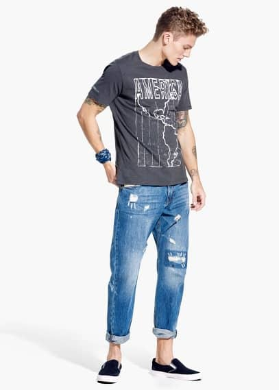 Loose-fit medium wash john jeans | MANGO MAN