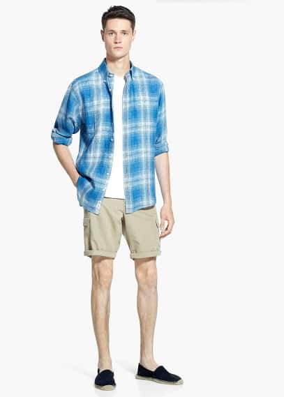 Classic-fit madras check linen shirt | MANGO MAN